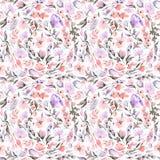 Bezszwowy wzór z menchia liśćmi i kwiatami Zdjęcie Royalty Free