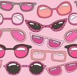 Bezszwowy wzór z menchia ręka rysującymi okularami przeciwsłonecznymi Piękna lata tekstura Doskonale spojrzenie na tkaninie, siec ilustracja wektor