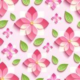 Bezszwowy wzór z menchiami 3d Sakura i zieleń liśćmi Zdjęcie Royalty Free