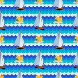 Bezszwowy wzór z morzem, słońce, drzewko palmowe, jacht Obraz Royalty Free