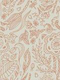 Bezszwowy wzór z motylami, ścigami i kwiatami, Freehand rysunek, beż, pastelowy kolor Zdjęcie Royalty Free