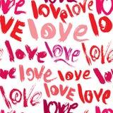 Bezszwowy wzór z muśnięć uderzeniami i skrobaninami, słowa miłość - ilustracja wektor