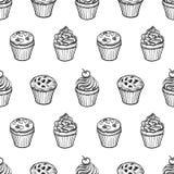 Bezszwowy wzór z muffins i babeczkami Zdjęcie Stock