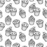 Bezszwowy wzór z muffins i babeczkami Obrazy Royalty Free