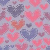 Bezszwowy wzór z nakreśleń sercami Zdjęcie Royalty Free