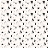 Bezszwowy wzór z napój filiżankami i herbatą Kawowa przerwa tafluje tło royalty ilustracja