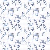Bezszwowy wzór z niebieskiej linii sztuki ikoną notatnik, kompasy, pióro i kompasy na notatniku, wzywamy tło ilustracja wektor