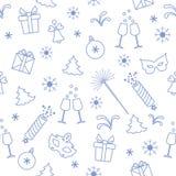 Bezszwowy wzór z nowy rok symbolami Prezenty, petardy, fajerwerki, koralik, szkła z szampanem, dzwon, choinka, maska, ilustracja wektor