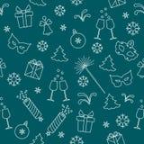 Bezszwowy wzór z nowy rok symbolami Prezenty, petardy, fajerwerki, koralik, szkła z szampanem, dzwon, choinka, maska, royalty ilustracja