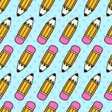 Bezszwowy wzór z ołówkami i gumką Zdjęcie Royalty Free