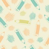 Bezszwowy wzór z ołówkami Zdjęcia Stock