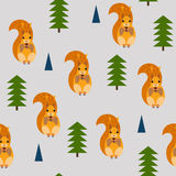 Bezszwowy wzór z obrazkiem wiewiórki Obrazy Royalty Free