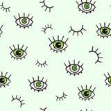 Bezszwowy wzór z oczami na zielonym tle Czecha stylowy tło dla projekta Abstrakcjonistyczny druk otwarty i zamyka oczy Obrazy Stock