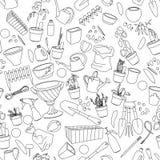 Bezszwowy wzór z ogrodnictw narzędziami, kwiatów garnki Obrazy Stock
