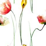 Bezszwowy wzór z ogrodowymi kwiatami Obraz Royalty Free