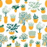 Bezszwowy wzór z ogrodowymi roślinami w garnkach Ogrodnictwo i horticulture ilustracja wektor