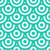 Bezszwowy wzór z okręgami błękitna zieleń i biel Obrazy Stock