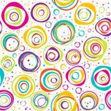 Bezszwowy wzór z okręgami i kropkami na białym tle