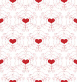 Bezszwowy wzór z openwork sercami Obrazy Royalty Free