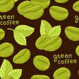 Bezszwowy wzór z organicznie kawowymi fasolami Zdjęcia Stock