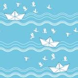 Bezszwowy wzór z origami papieru łodziami ilustracja wektor