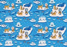 Bezszwowy wzór z ornamentacyjnymi biegunowymi zwierzętami, kreskówek eskimos, jurtami i husky, również zwrócić corel ilustracji w Obrazy Royalty Free