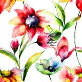 Bezszwowy wzór z oryginalnymi kwiatami Obrazy Royalty Free