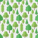Bezszwowy wzór z płaskimi drzewami Wektorowy tło royalty ilustracja