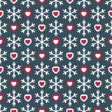 Bezszwowy wzór z płatkami śniegu i sercami Zdjęcia Stock