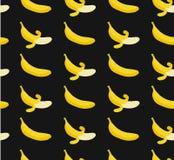 Bezszwowy wzór z płaskimi ilustracyjnymi bananami Zdjęcie Stock