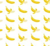 Bezszwowy wzór z płaskimi ilustracyjnymi bananami Obraz Stock