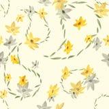 Bezszwowy wzór z Paisley, beż i szarość kwitnie na jasnożółtym tle akwarela Zdjęcie Stock