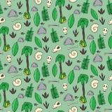Bezszwowy wzór z palmami, liśćmi, sculls i skałami, Obraz Royalty Free