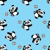 Bezszwowy wzór z pandy sztuki piłką nożną ilustracja wektor