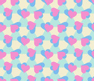 Bezszwowy wzór z parami błękita i menchii serca Obrazy Royalty Free