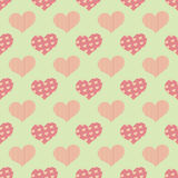 Bezszwowy wzór z parzysty, równy sercami umieszczającymi w geometrycznym rozkazie ilustracja wektor