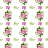 Bezszwowy wzór z peonią i białymi małymi kwiatami na białym tle abstrakcjonistycznego t?a sk?adu daemon ciemna cyfrowa fantazi po ilustracja wektor