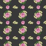 Bezszwowy wzór z peonią i białymi małymi kwiatami na czarnym tle abstrakcjonistycznego t?a sk?adu daemon ciemna cyfrowa fantazi p ilustracja wektor