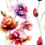 Bezszwowy wzór z peoni i tulipanów kwiatami Obraz Royalty Free