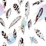 Bezszwowy wzór z piórkami i jaskrawymi artystycznymi plamami ilustracja wektor