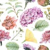 Bezszwowy wzór z piękną wiosną kwitnie i rośliny Zdjęcia Royalty Free