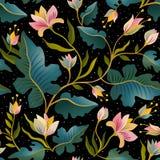 Bezszwowy wzór z pięknymi fantastycznymi roślinami Wektorowy magiczny tło projekt Obrazy Royalty Free
