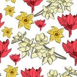 Bezszwowy wzór z pięknym jonquil kwiatem ilustracji