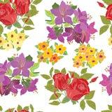 Bezszwowy wzór z pięknymi kwiatami ilustracji