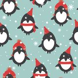 Bezszwowy wzór z pingwinami w kapeluszach, śnieg royalty ilustracja