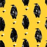 Bezszwowy wzór z pingwinem i trójbokami Ornament dla tkaniny i opakowania Wektorowy tło Zdjęcia Royalty Free