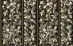 Bezszwowy wzór z pionowo lampasami i kwiecistym ręka rysunku ornamentem Wektorowa tapeta royalty ilustracja