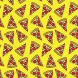 Bezszwowy wzór z pizza kawałkami Fotografia Stock