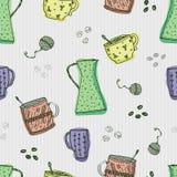Bezszwowy wzór z pociągany ręcznie doodle kawowymi i herbacianymi elementami na popielatym tle Obrazy Stock