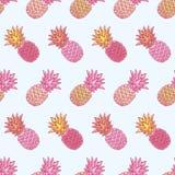 Bezszwowy wzór z pociągany ręcznie stubarwnymi ananasami Obraz Stock